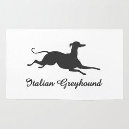 Italian Greyhound in dark grey on white Rug