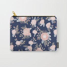 Floral bouquet pastel navy pink florals painted painted metallic pattern basic minimal pattern print Carry-All Pouch
