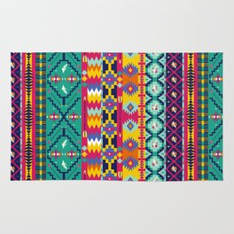 Seamless colorful aztec pattern with birds Rug