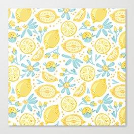 Lemon pattern White Canvas Print