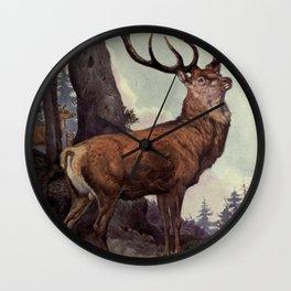 Vintage Red Deer Painting (1909) Wall Clock