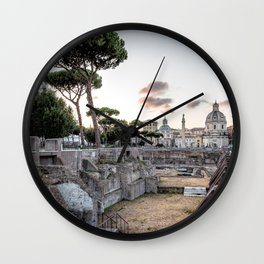 Sunset at Forum of Rome Wall Clock