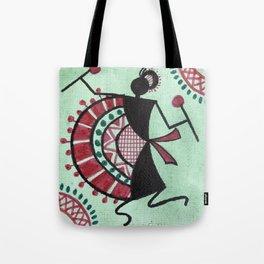 Warli Lady Drummer Tote Bag