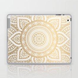 Gold Mandala Pattern Illustration With White Shimmer Laptop & iPad Skin