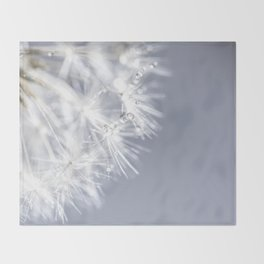 Sparkling dandelion with droplets - Flower water Throw Blanket