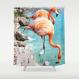 Flamingos on the Beach #society6 #decor #buyart Shower Curtain