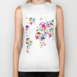 Dinosaur Map of the World Map Biker Tank