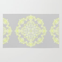 Pale Lemon Yellow Lace Mandala on Grey Rug