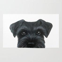 Black Schnauzer, Dog illustration original painting print Rug