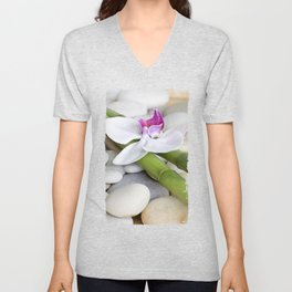 white Orchid flower  and green Bamboo still life Unisex V-Neck