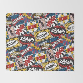 Modern Comic Book Superhero Pattern Color Colour Cartoon Lichtenstein Pop Art Throw Blanket