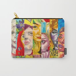 Female Faces Portrait Collage Design 1 Carry-All Pouch