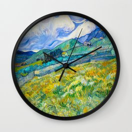 Mountain Landscape behind the Saint Paul Hospital Painting by Vincent van Gogh 1889 Wall Clock