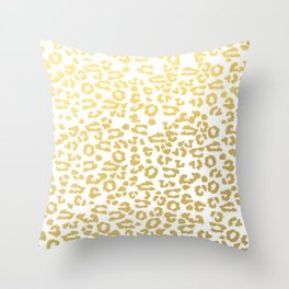 Gold Leopard Animal Print Ink Nature Jungle Exotic Pattern Throw Pillow