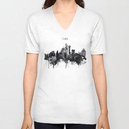 Dallas TexasBlack White Skyline Poster Unisex V-Neck