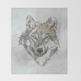 Wolf Head Illustration Throw Blanket