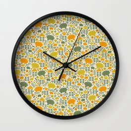 Autumn Hedgehog Forest Wall Clock