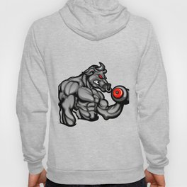 a strong angry bull with a barbell Hoody
