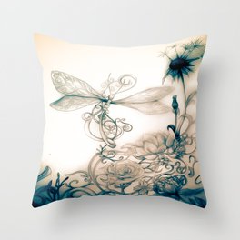 Dandylion DragonFly Throw Pillow