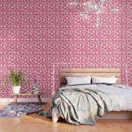 Red Watercolour Floral Pattern Wallpaper