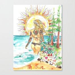 The Sun Tarot Card Bohemian Ocean Goddess Risa Painting Canvas Print
