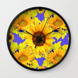 Golden Sunflower Pattern Floral Purple Shades Wall Clock