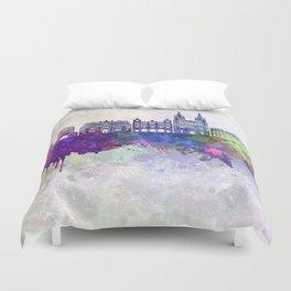 Burgos skyline in watercolor background Duvet Cover