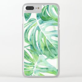 Monstera Leaf Pattern Clear iPhone Case