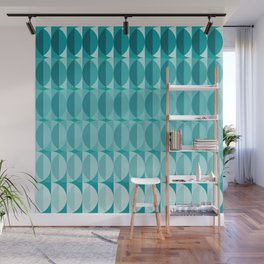 Leaves in the moonlight - a pattern in teal Wall Mural