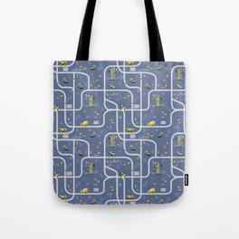 Under Construction Digger Vehicles Blue Pattern Tote Bag