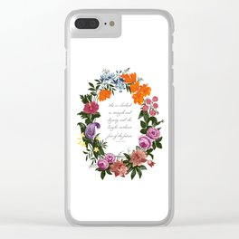 She is Clothed in Dignity and Strength and She Laughs without Fear of the Future Clear iPhone Case