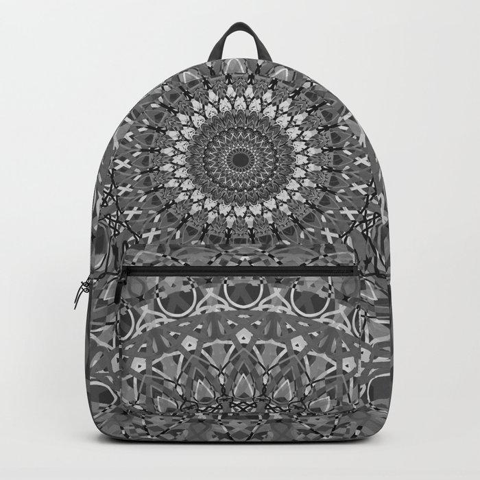MANDALA EYE OF POWER BLACK WHITE GRAY Backpack