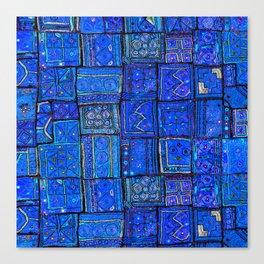 V2 Calm Blue Traditional Moroccan Cloth Texture. Canvas Print