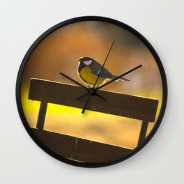 Great Tit On A Chair Wall Clock