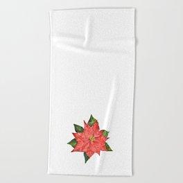Christmas pointsettia Beach Towel