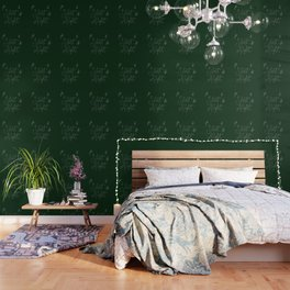 Merry Christmas - Silent Night - Typography and stars  on festive green Wallpaper