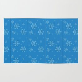 Blue Chemical Snowflakes Rug