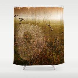 Industrious Spider On A Misty Autumn Dawn Shower Curtain