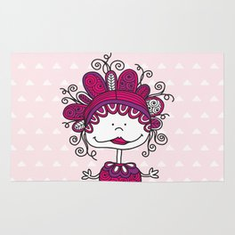 Doodle Doll with Curls on Pink Background Rug