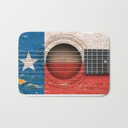 Old Vintage Acoustic Guitar with Texas Flag Bath Mat