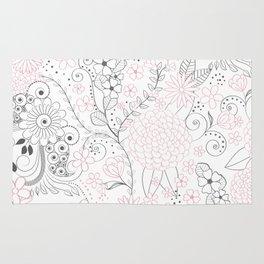 Classy doodles hand drawn floral artwork Rug