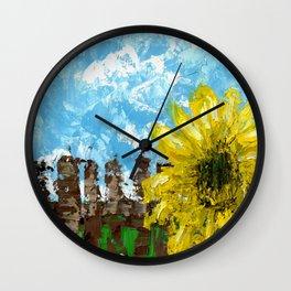 Fenced Sunflower Wall Clock