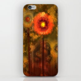 Abstract flowers in golden light iPhone Skin