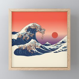 The Great Wave of Dachshunds Framed Mini Art Print