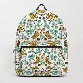 Warblers & Moths - Yellow & Teal Spring Floral/Bird Pattern Backpack