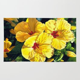 Yellow Hibiscus #18 Rug