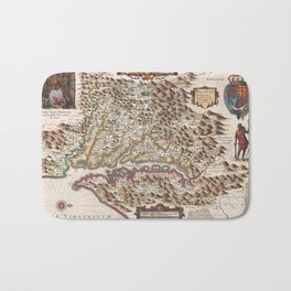 1630 vintage map of Virginia and the Chesapeake Bay Bath Mat