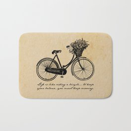 Albert Einstein - Life is Like Riding a Bicycle Bath Mat