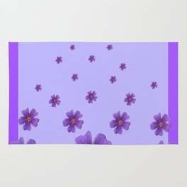RAINING PURPLE FLOWERS LILAC COLLAGE ART Rug