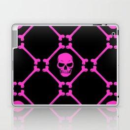 Skulls and bones hot pink on black Laptop & iPad Skin
